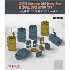 WWII German 20L Jerry Can and 200L Fuel Drum Set 1/72