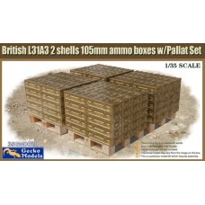 British L31A3 2 shells 105mm ammo boxes with Pallet Set 1/35
