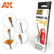 AK663 Survival Weathering Brushes Set