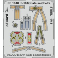 F-104G late seatbelts STEEL 1/48 for Kinetic kit