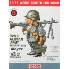 W.W.II German Infantry Man & MG34 1/12