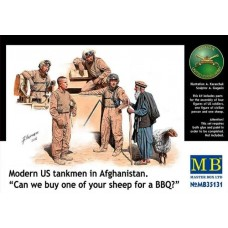 """Modern US tankmen in Afghanistan. """"Can we buy one of your sheep for a BBQ?"""" 1/35"""