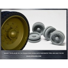 T-34 m1940 Pressed Road Wheels with perforated tires and with the rim 20pcs for Dragon kit 1/35