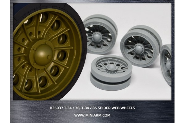 T-34, Su-85 Spider web wheels with perforated tires (late) 20pcs for Dragon kit 1/35