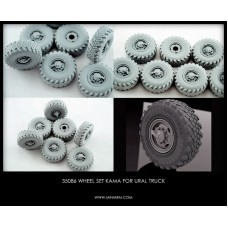 "Sagged wheel set ""Kama"" for 6X6 Truck URAL 4320 (6pcs plus extra) for Zvezda, Trumpeter, ICM kits 1/35"