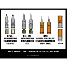 Ammo set 2A46M 125mm gun for T-64,T-72,T-80,T-90 + decals 1/35