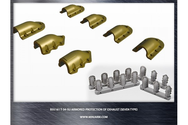 T-34/SU Armored protection of exhaust (seven types) for Dragon, Zvezda kits 1/35