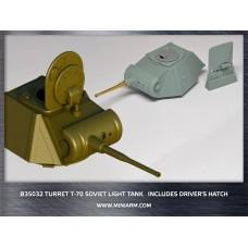 Т-70 WWII Soviet light tank, Turret plus gun barrel(metal) includes driver's hatch for MiniArt kit 1/35
