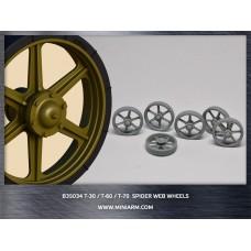 T-30/T-60/T-70 Spider web wheels 12pcs for MiniArt, Hobby Boss kits 1/35