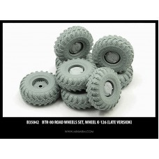 BTR-80 Road wheels set, Wheel K-126 (late version), 8pcs for Dragon, Zvezda, Trumpeter kits 1/35