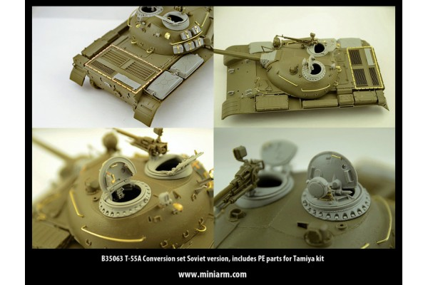 T-55A Conversion set Soviet version, includes PE parts, for Tamiya kit 1/35