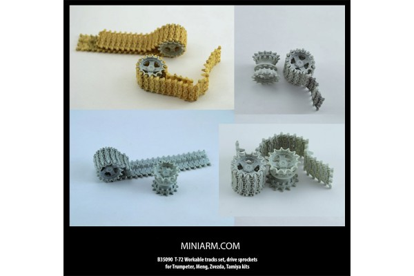 T-72 Workable tracks set, drive sprockets for Trumpeter, Meng, Zvezda, Tamiya kits 1/35
