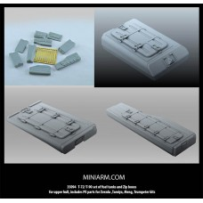 T-72/T-90 set of fuel tanks and Zip boxes for upper hull, includes PE parts for Zvezda ,Tamiya, Meng, Trumpeter kits 1/35