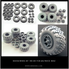 Wheel set VID-201 for 6X6 Truck KRAZ, 6pcs plus extra, 1/35