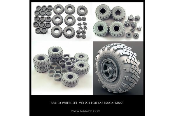 Wheel set VID-201 for 6X6 Truck KRAZ, 6pcs plus extra, 1/35