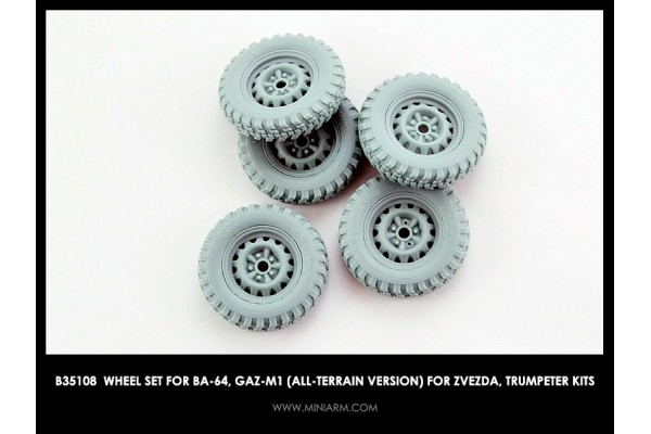 Wheel set for BA-64, GaZ-M1 (all-terrain version) for Zvezda, Trumpeter kits 1/35