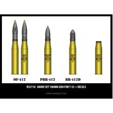 Ammo set 100mm gun for T-55 + decals 1/35