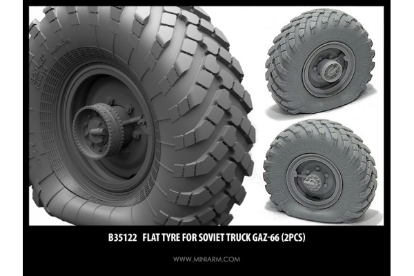Flat tyre for Gaz-66 (2pcs) 1/35