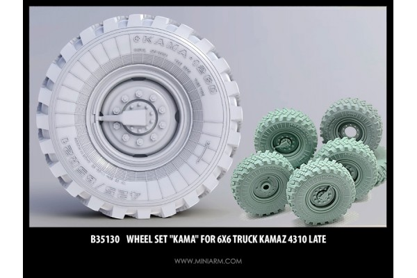 "Wheel set ""Kama"" for 6X6 Truck Kamaz 4310 late, 6pcs, 1/35"