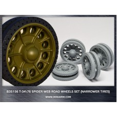 T-34/76 Spider web road wheels set (narrower tires) for Dragon, Zvezda kits 1/35