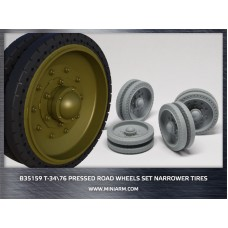 T-34/76 Pressed road wheels set (narrower tires) for Dragon, Zvezda kits 1/35
