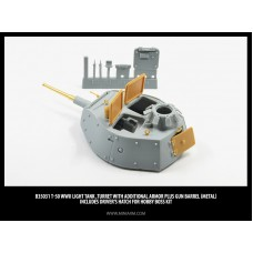 Т-50 WWII Soviet light tank, Turret (with additional armor) plus gun barrel (metal) includes driver's hatch for Hobby Boss kit 1/35