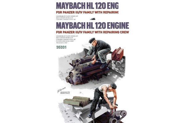 Maybach HL 120 Engine for Panzer III/IV Family w/Repair Crew 1/35