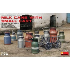 Milk cans with small cart 1/35