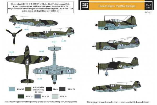 SBS D72037 Finnish Fighters - Post War Markings 1/72