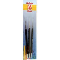 Kolinsky Brush Set: 0/5, 2/0, 1, Triangular-handled