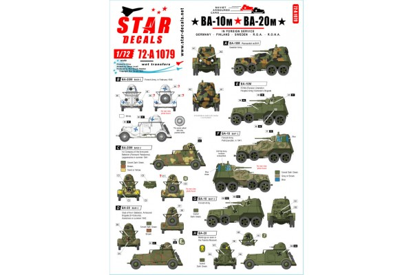 Star Decals 72-A1079 BA-10M and BA-20M Soviet armored cars in Foreign service 1/72