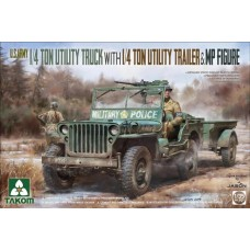 1/4 Ton Utility Truck with 1/4 Ton Utility Trailer & MP Figure 1/35