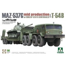 MAZ-537G Tractor with CHMZAP-5247G Semitrailer + T-54B 1/72