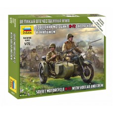 M-72 Soviet Motorcycle with Sidecar and Crew 1/72